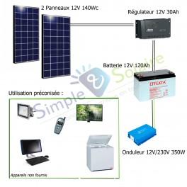 Domicile : les indispensables - Kit solaire 280 Wc 12V/230V - 800Wh/jour